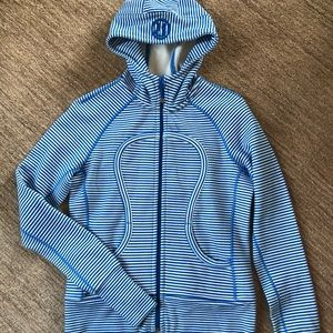 Lululemon Blue and White Striped Hoodie